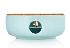 Керамическая подставка для подогрева чайника небесного цвета с пробковым диском