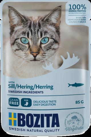 Bozita Pouch Herring in sauce Консервы для взрослых кошек с сельдью, кусочки в соусе (Пауч)