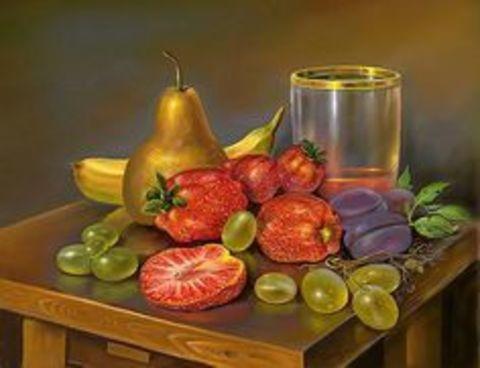 Картина раскраска по номерам 50x65 Натюрморт с фруктами