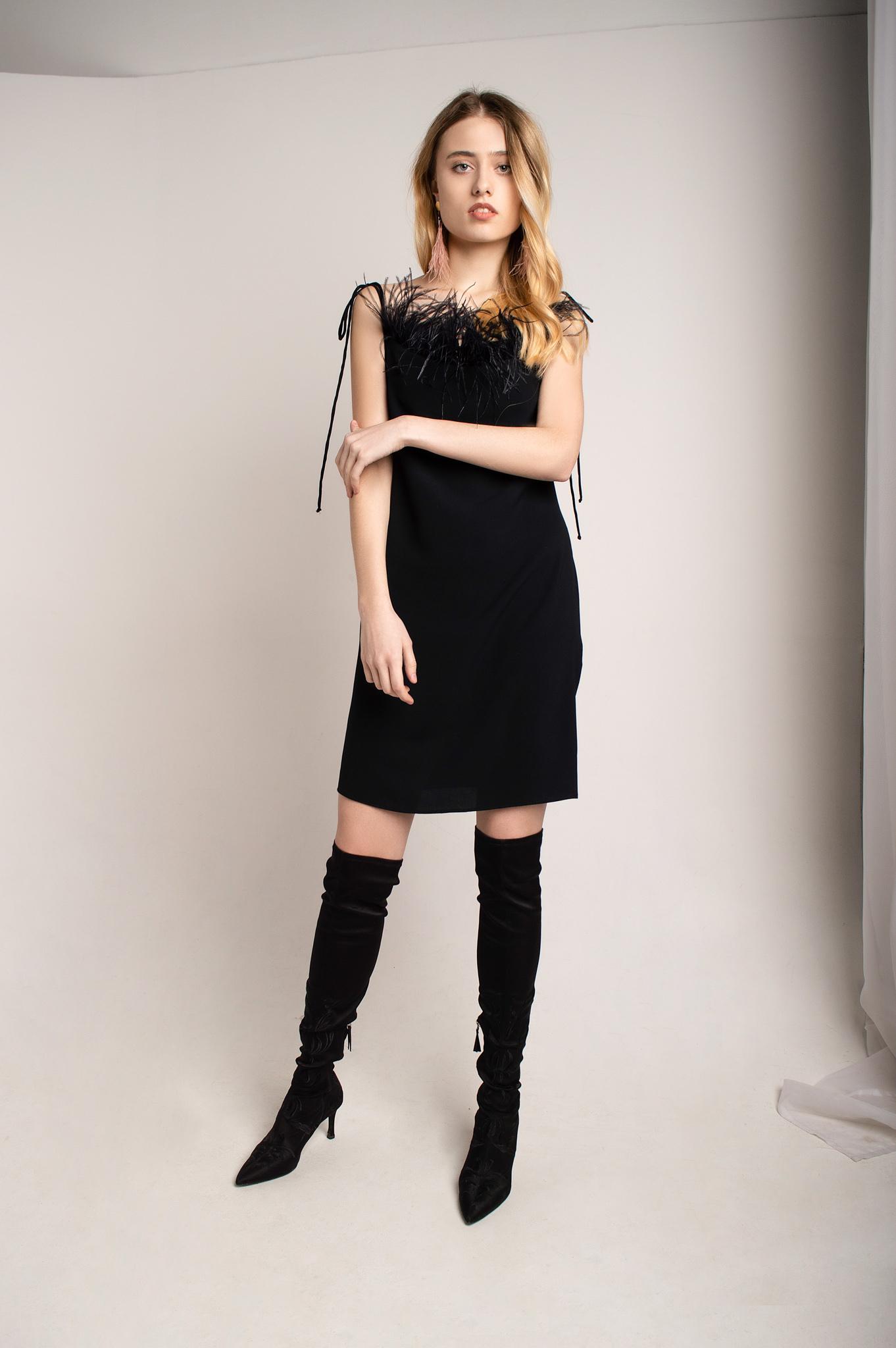 Маленькое чёрное платье с перьями