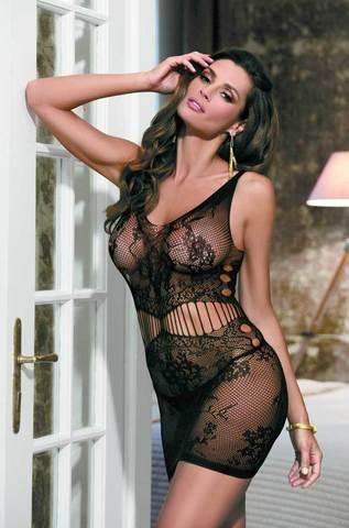 Платье из сетки черное
