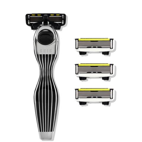 Shave Lab SEIS Black Бритва для мужчин Черный/серебро, комплект 6 лезвий х 4шт.