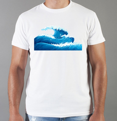Футболка с принтом Море, Океан, волны (Sea, ocean, waves) белая 002