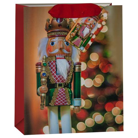 Пакет подарочный, Щелкунчик и новогодняя елочка, Красный, с блестками, 32*26*13 см