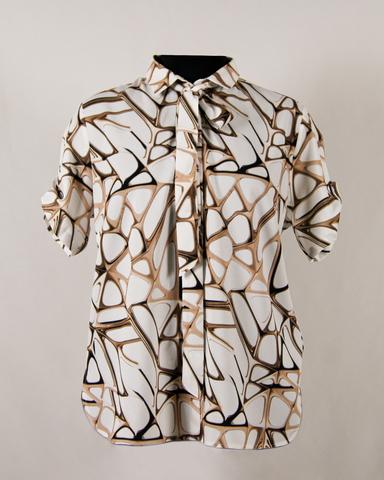 Блузка Bikkar рубашка бант геометрия к/р