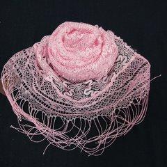 Шарф ажурный с кистями розовый
