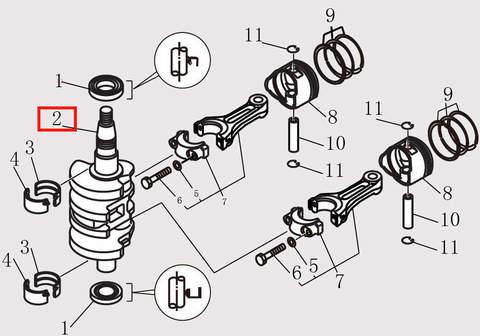 Коленвал для лодочного мотора F9.8 Sea-PRO (10-2)