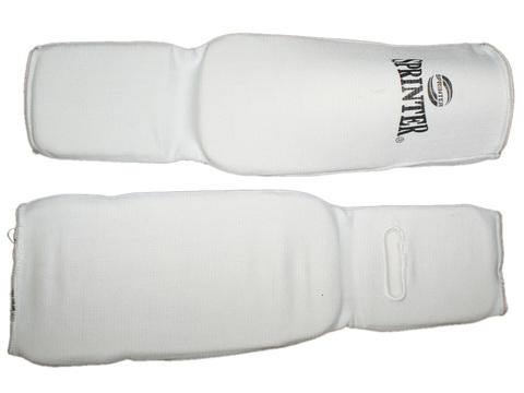 Защита ноги (для единоборств, от колена до пальцев, хлопок с эластиком,  поролон). Размер  L. Цвет: белый.