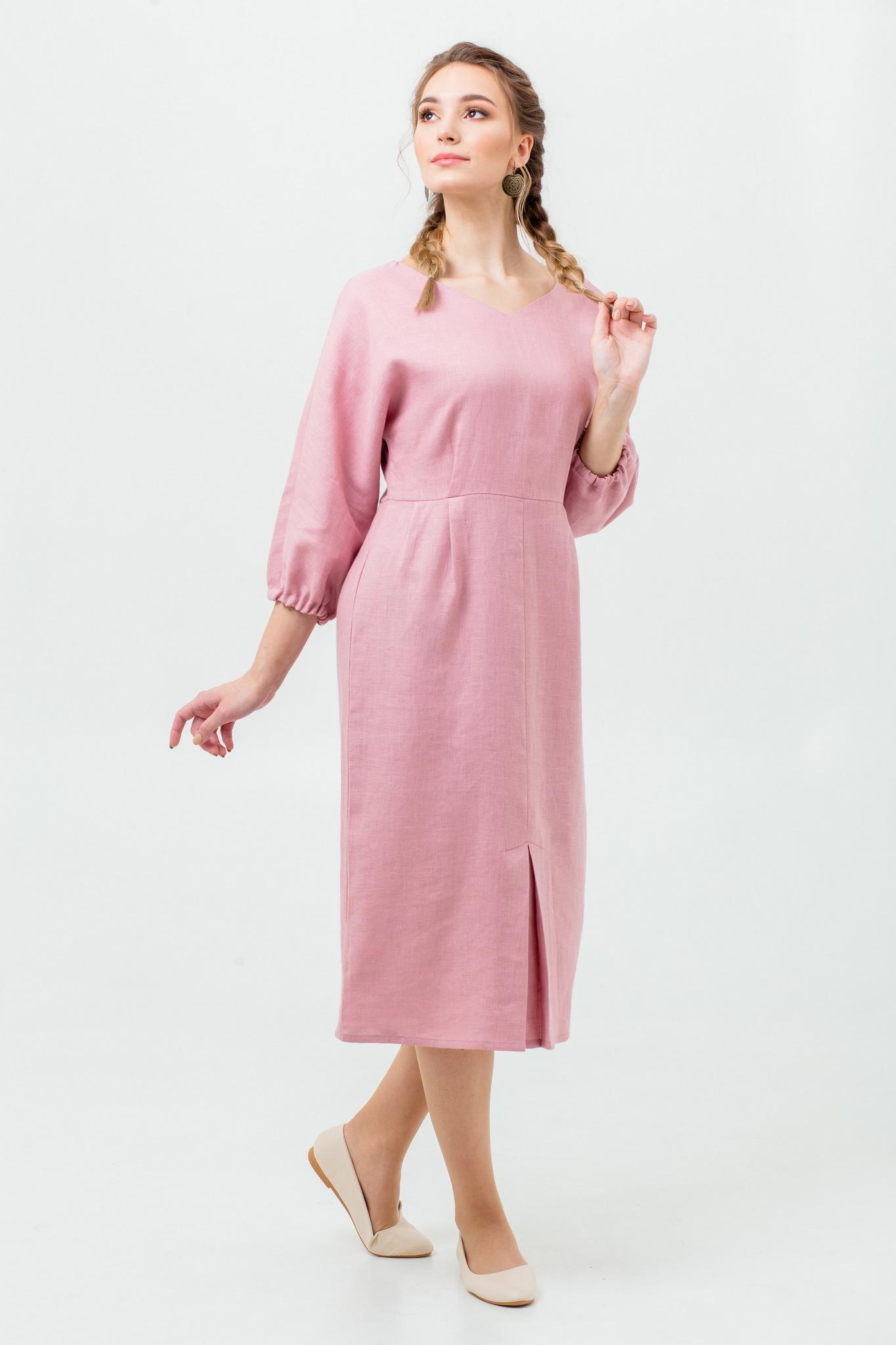Однотонное льняное платье с доставкой