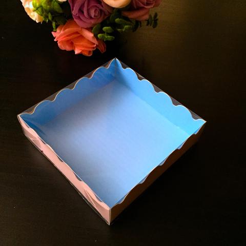 Коробка для пряников с прозрачной крышкой ГОЛУБАЯ  (12х12см h-2,5см)