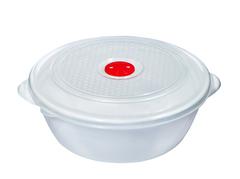Контейнер для СВЧ 3 литра c крышкой и клапаном Эльфпласт белый круглый 22,5 см