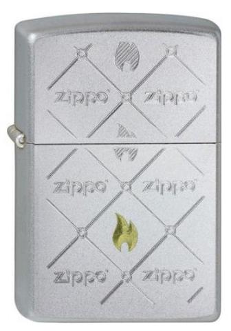 Зажигалка Zippos с покрытием Satin Chrome, латунь/сталь, серебристая, матовая, 36x12x56