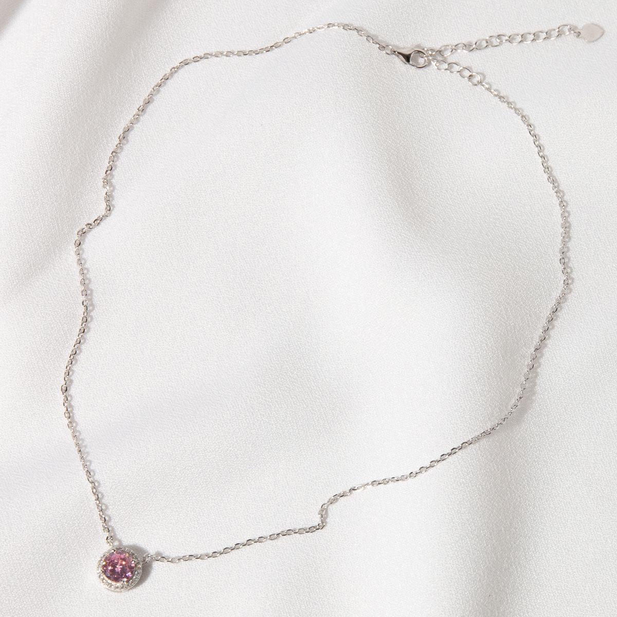 Подвеска круглый циркон в розетке розовый (серебро 925)