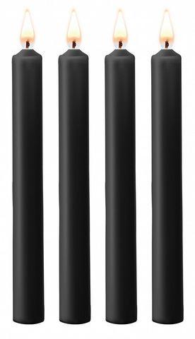 Набор из 4 черных восковых свечей Teasing Wax Candles Large