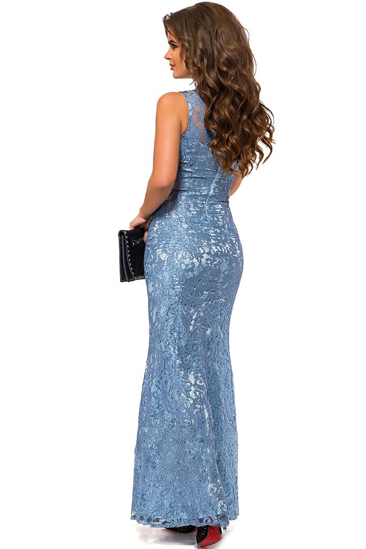 Вечернее кружевное платье со стразами, голубое