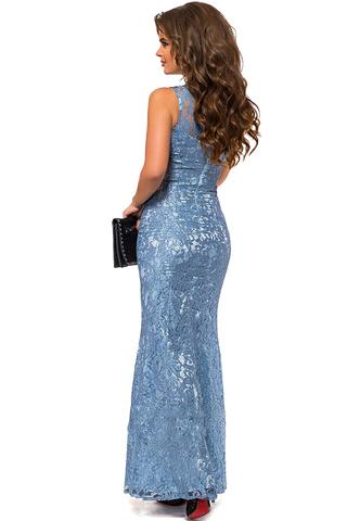 Вечернее кружевное платье со стразами, голубое 1