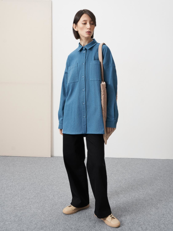 Рубашка Wood джинсовая со складкой