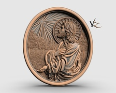 Силиконовый молд № 0202  Медальон Иисус