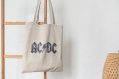 Сумка-шоппер с принтом AC DC (Рок) бежевая 004