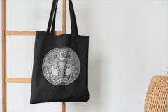 Сумка-шоппер с принтом Знаки Зодиака, Близнецы (Гороскоп, horoscope) черная 002