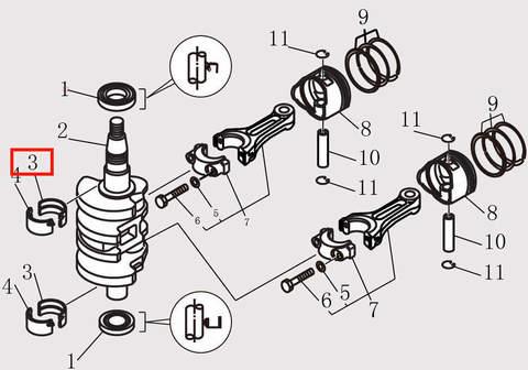 Вкладыш шатуна для лодочного мотора F9.8 Sea-PRO (10-3)