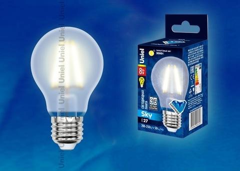 Uniel Лампа LED-A60-8W/WW/E27/FR Sky (теплый свет)