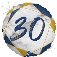 Г Круг 30 Цифра, Мрамор Синий, Голография, 18
