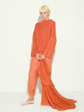 Женские брюки терракотового цвета из мохера и кашемира - фото 3