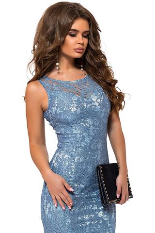 Вечернее кружевное платье со стразами, голубое 2