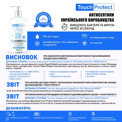 Антисептик гель для рук в саше Touch Protect 2 ml х 1000 шт. (3)