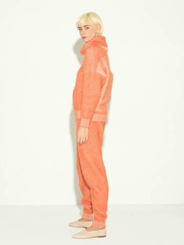 Женские брюки терракотового цвета из мохера и кашемира - фото 4