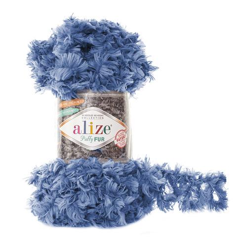 Купить Пряжа Alize Puffy Fur Цвет 6116 Джинсовый | Интернет-магазин пряжи «Пряха»