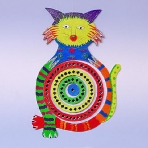 Спираль Кошка с зеркалами цветная