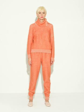 Женские брюки терракотового цвета из мохера и кашемира - фото 2