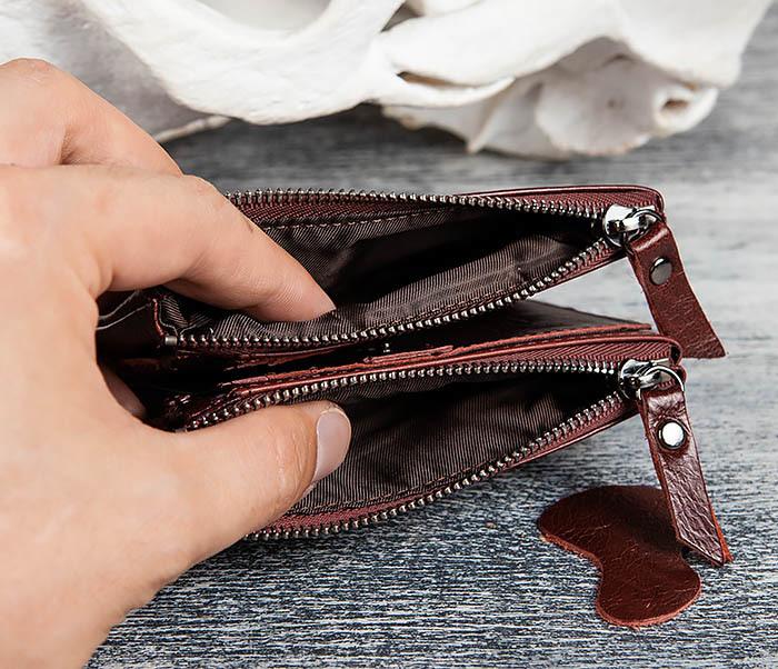 WL250-3 Красный мужской кошелек из натуральной кожи фото 05