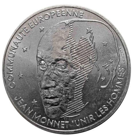 100 франков. Жан Монне. Франция. 1992 год. Серебро. UNC
