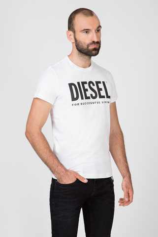 Мужская белая футболка с принтом T-DIEGO-LOGO MAGLIETTA Diesel