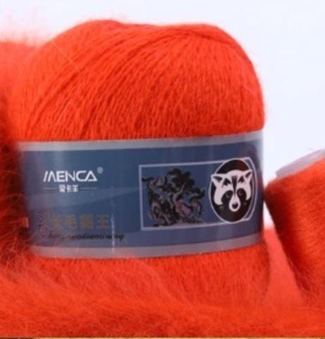 Пряжа Пух норки 840 красный апельсин