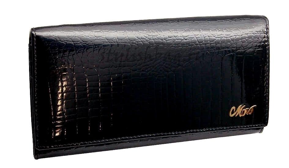Черный лакированный женский кошелек 59010 Moro Jenny