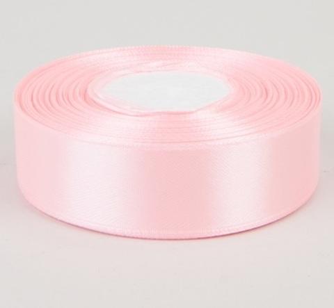 Лента атласная (размер 25 мм х 30 м) Цвет: светло-розовая