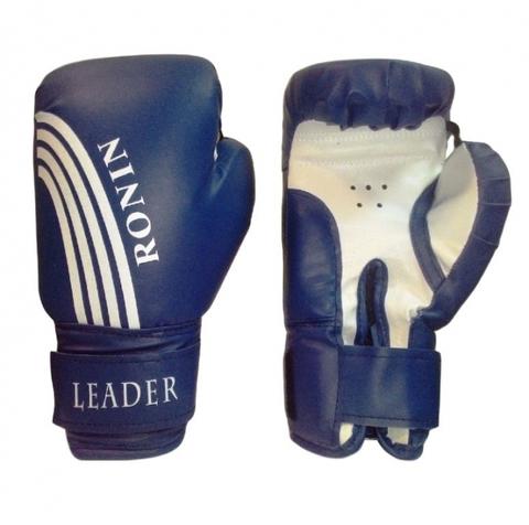 F122Син(8) Перчатки бокc RONIN Leader 8унц. синие с бел. полосами, спец. PU, на липучке (full_F122______)