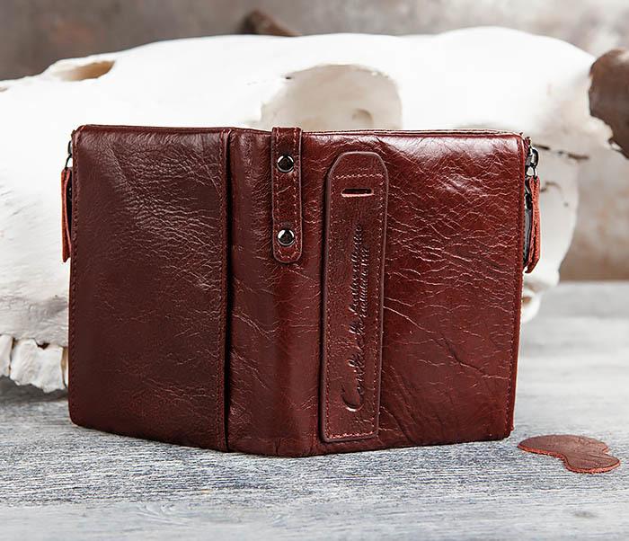 WL250-3 Красный мужской кошелек из натуральной кожи фото 07