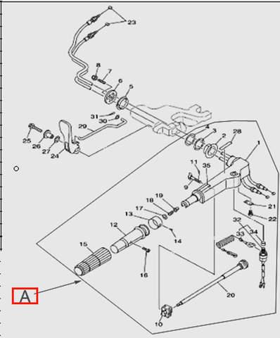 Румпель  для лодочного мотора T15, OTH 9,9 SEA-PRO (11-A)