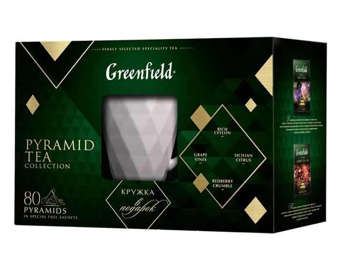 Набор 4 вида чая в пирамидках Greenfield c керамической кружкой, 80 пак/уп