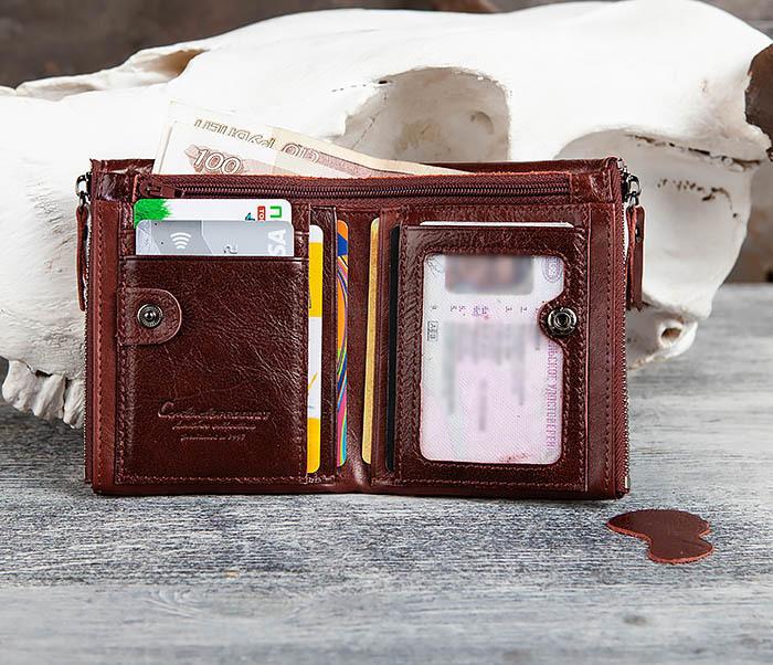 WL250-3 Красный мужской кошелек из натуральной кожи фото 08