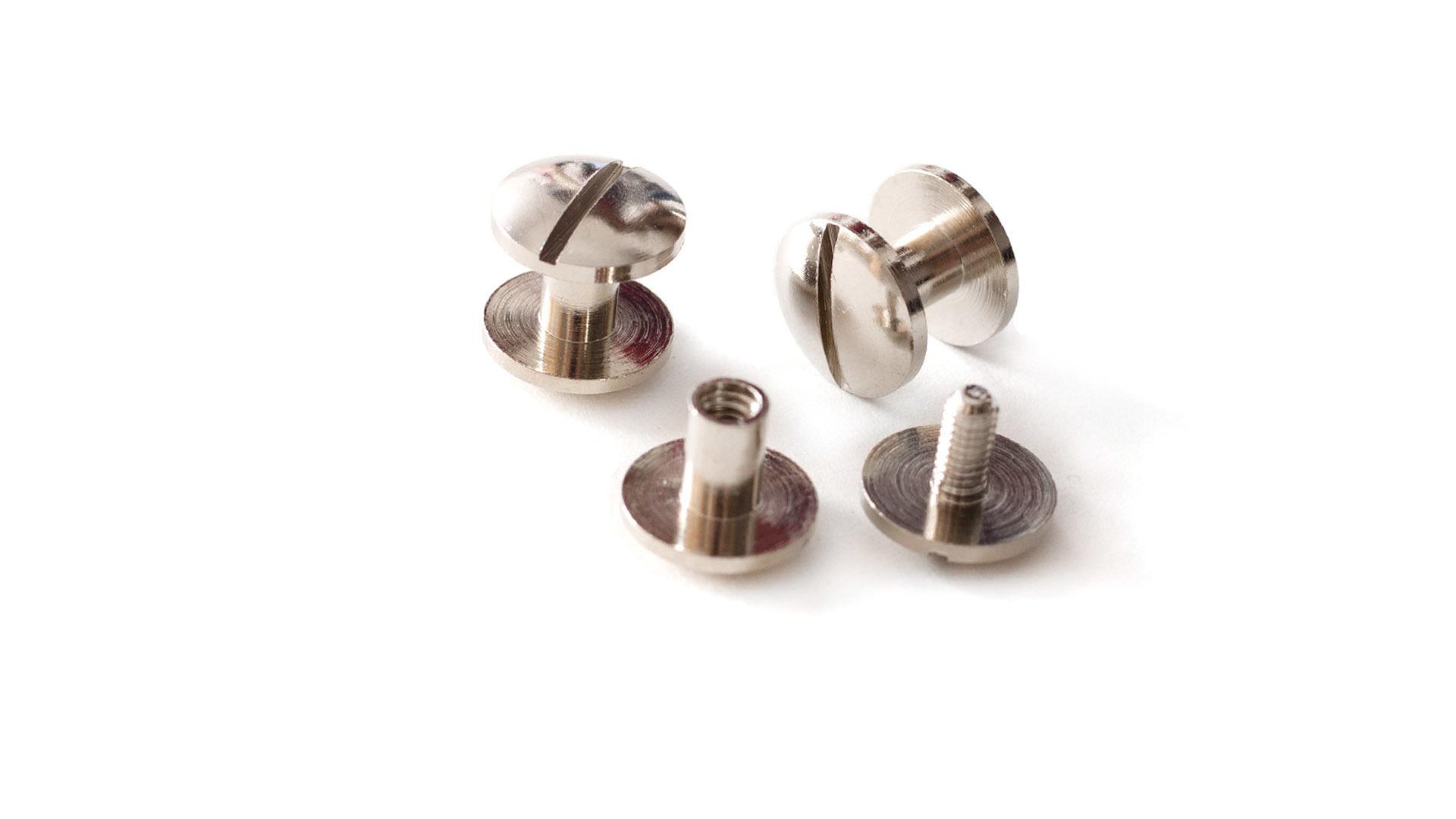 Литой винт для ремня d-10, h-6 мм, никель