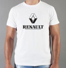Футболка с принтом Рено (Renault) белая 006
