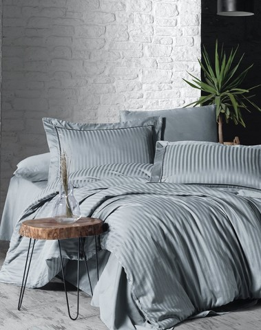 Комплект постельного белья DO&CO Сатин  жаккард DELUX LINERA 2 спальный (Евро) цвет серый
