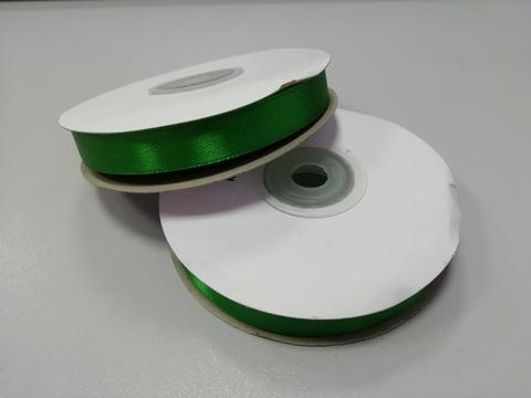 Лента атласная Зеленая 12 мм, 27м