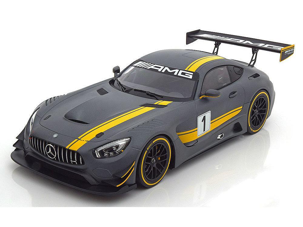 Коллекционная модель Mercedes-Benz AMG GT GT3 Presentation Salon Geneve 2015 Flat Grey/Yellow